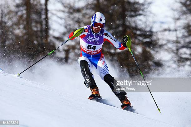 Stepan Zuev of Russia skis during the Men's Slalom event held on the Face de Bellevarde course on February 15 2009 in Val d'Isere France