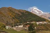 georgia stepandsminda town with mt kazbek