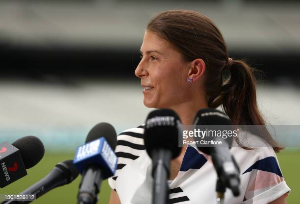 Steph Beltrame, Head of Media Rights for Cricket Australia speaks during the launch of THE RECORD documentary by Amazon Prime featuring the...