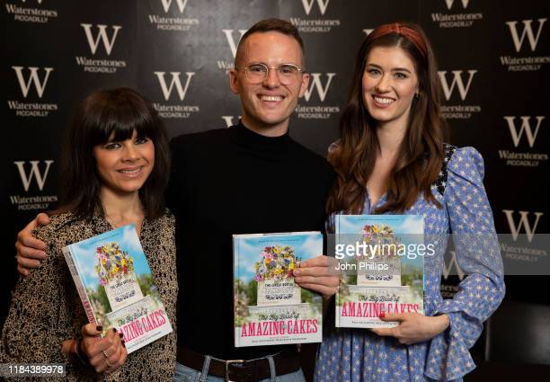 Steph Blackwell David Atherton and Alice Fevroni photographed duing the 2019 Great British Bake Off Finalists photocall at Waterstones Piccadilly on...