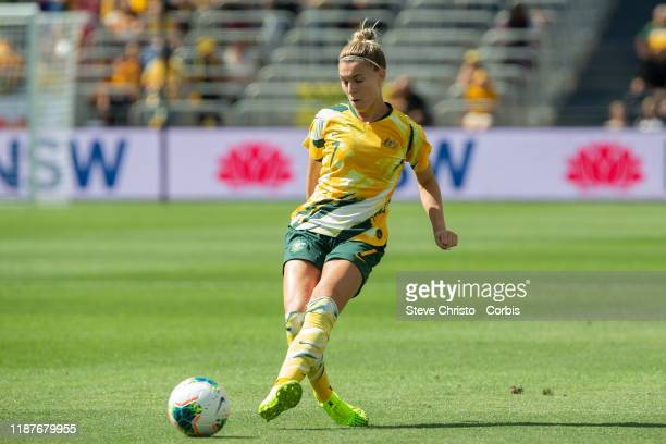 Steph Catley of Australia dribbles the ball during the International friendly match between the Australian Matildas and Chile at Bankwest Stadium on...
