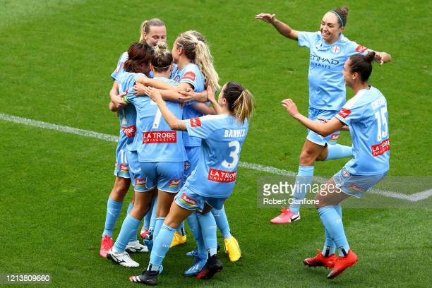 Steph Catley of Melbourne City celebrates after scoring a goal with her team during the 2020 WLeague Grand Final match between Melbourne City and...