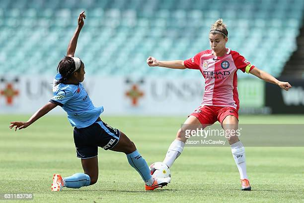 Steph Catley of Melbourne City is challenged by Francisca Ordega of Sydney during the round 11 W-League match between Sydney FC and Melbourne City FC...