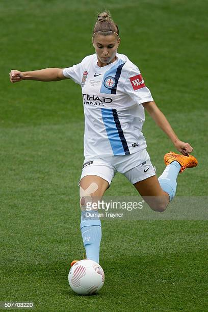 Steph Catley of Melbourne City kicks the ball during the 2016 WLeague Grand Final match between Melbourne Victory and Sydney FC at AAMI Park on...