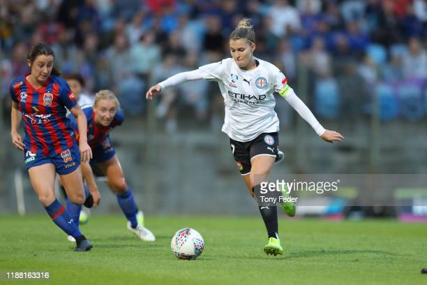 Steph Catley of Melbourne City shoots for goal during the round 1 W-League match between the Newcastle Jets and Melbourne City at No. 2 Sportsground...