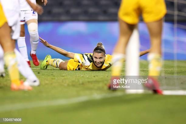 Steph Catley of the Matildas celebrates scoring a goal during the Women's Olympic Football Tournament Qualifier match between the Australian Matildas...