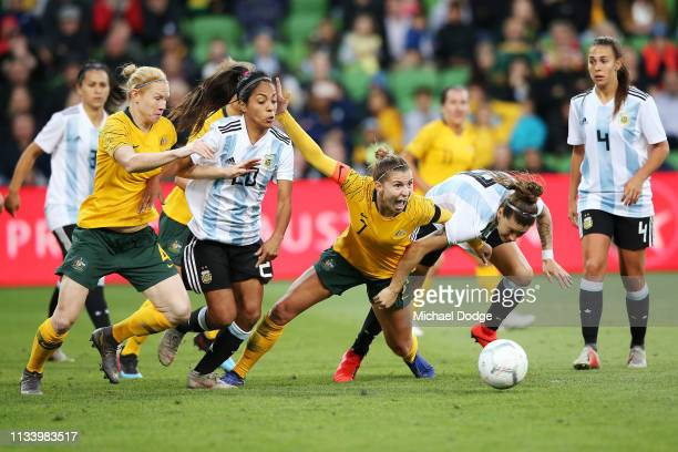 Steph Catley of the Matildas gets a penalty for this contest during the Cup of Nations match between Australia and Argentina at AAMI Park on March 06...