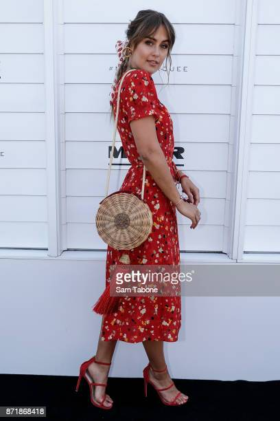Steph Clare Smith poses at the Myer Marquee on Oaks Day at Flemington Racecourse on November 9 2017 in Melbourne Australia