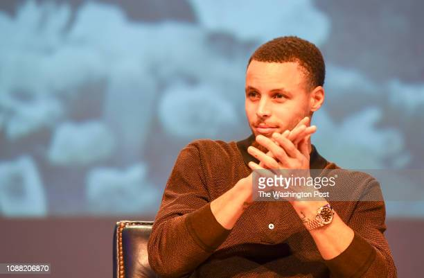 Steph Curry reacts during a panel discussion after the screening of Emanuel at the Cramton Auditorium at Howard University in Washington DC on...