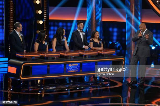 FEUD 'Steph Curry vs Chris Paul and Laurie Hernandez vs Shawn Johnson East' The celebrity teams competing to win cash for their charities feature NBA...