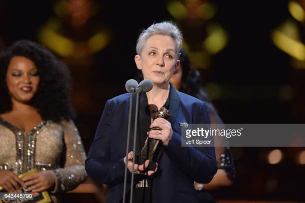 Steph Gibbons receives the award for Best Sound Design for 'Hamlet' on stage during The Olivier Awards with Mastercard at Royal Albert Hall on April...