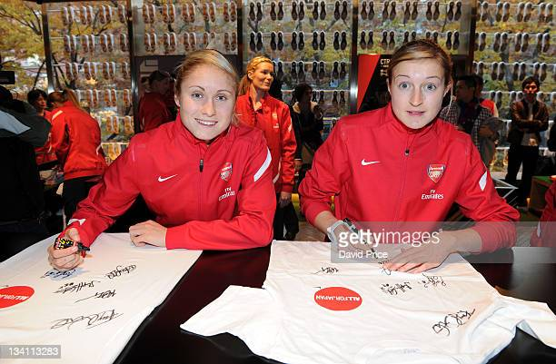 Steph Houghton and Ellen White of Arsenal Ladies FC during a visit to the Nike Store on November 26 2011 in Tokyo Japan