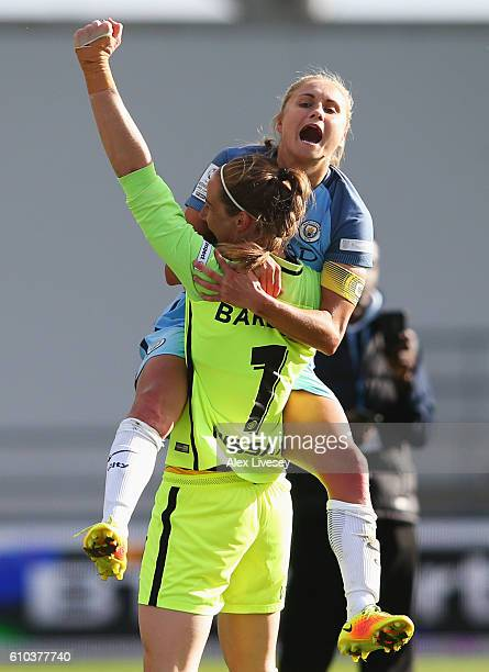Steph Houghton and Karen Bardsley of Manchester City Women celebrate as they win the WSL title after the WSL 1 match between Manchester City Women...