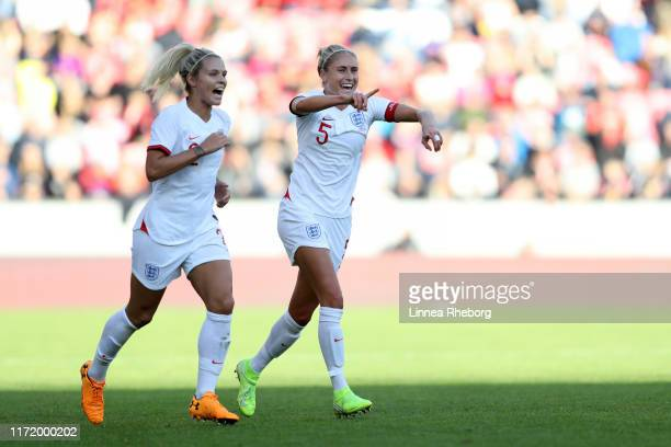 Steph Houghton and Rachel Daly of England celebrates after their team mate Georgia Stanway of England scored their teams first goal during the...