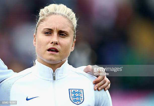 Steph Houghton Captain of England signs the national anthem ahead the UEFA Women's European Championship Qualifying match between England and Serbia...