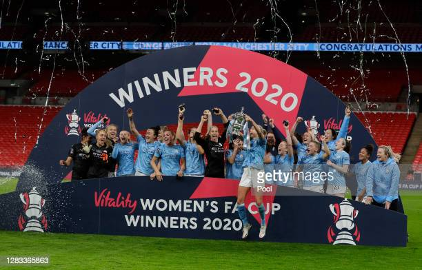 Steph Houghton, Captain of Manchester City lifts the Vitality Women's FA Cup Trophy following her team's victory in the Vitality Women's FA Cup Final...