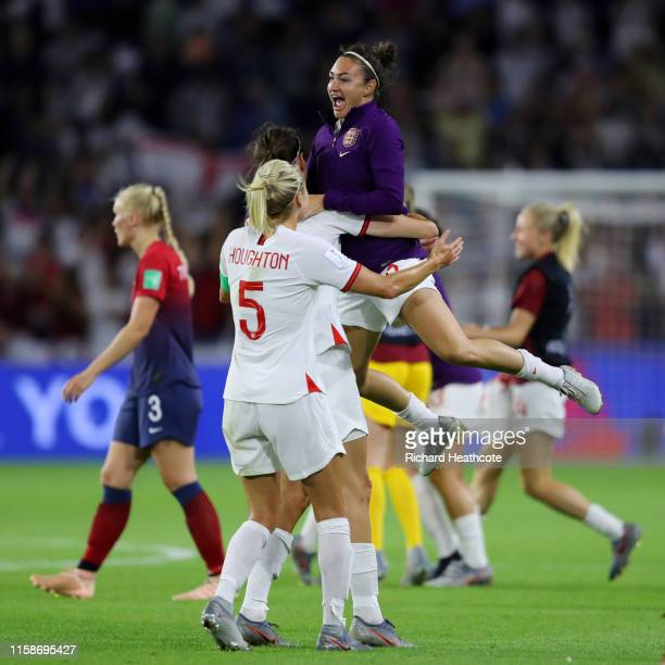 Steph Houghton Jill Scott and Jodie Taylor of England celebrate following their sides victory in the 2019 FIFA Women's World Cup France Quarter Final...
