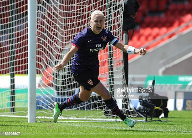 Steph Houghton of Arsenal celebrates after scoring the opening goal of The FA Women's Cup Final between Arsenal Ladies FC and Bristol Academy Women's...
