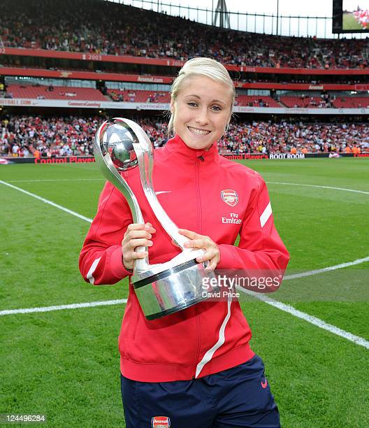 Steph Houghton of Arsenal Ladies with the WSL Trophy during the Barclays Premier League match between Arsenal and Swansea City at Emirates Stadium on...