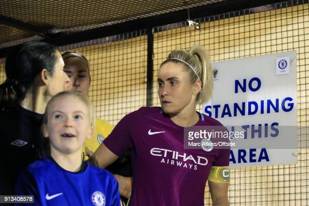Steph Houghton of captain of Manchester City waits in the tunnel before kick off during the WSL match between Chelsea Ladies and Manchester City...