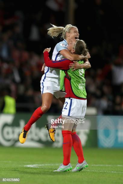 Steph Houghton of England and Casey Stoney of England celebrate victory after the UEFA Women's Euro 2017 Quarter Final match between France and...