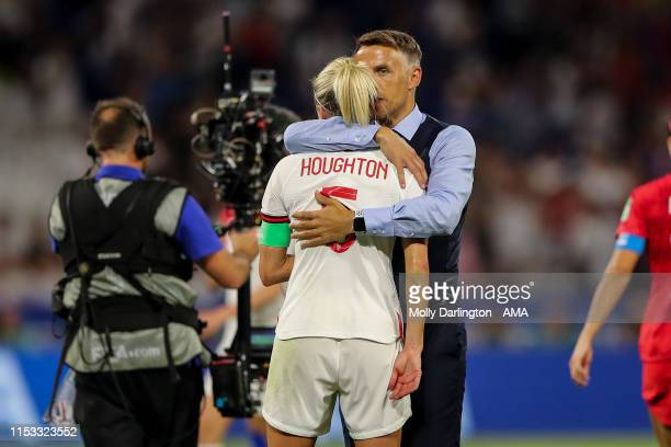 Steph Houghton of England and Phil Neville the head coach / manager of England react at full time during the 2019 FIFA Women's World Cup France Semi...
