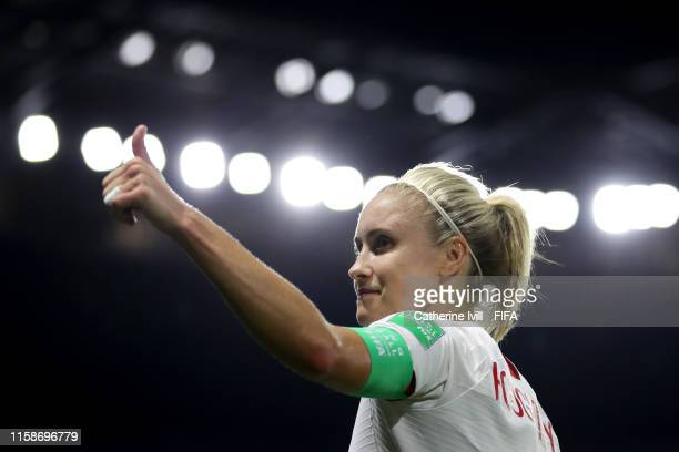 Steph Houghton of England celebrates following her sides victory in the 2019 FIFA Women's World Cup France Quarter Final match between Norway and...