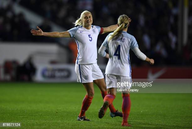 Steph Houghton of England celebrates scoring her second goal during the FIFA Women's World Cup Qualifier between England and Bosnia at Banks' Stadium...