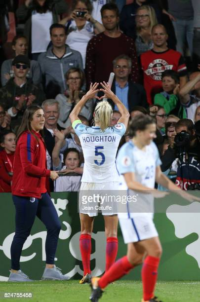 Steph Houghton of England celebrates the victory following the UEFA Women's Euro 2017 quarter final match between England and France at Stadion De...