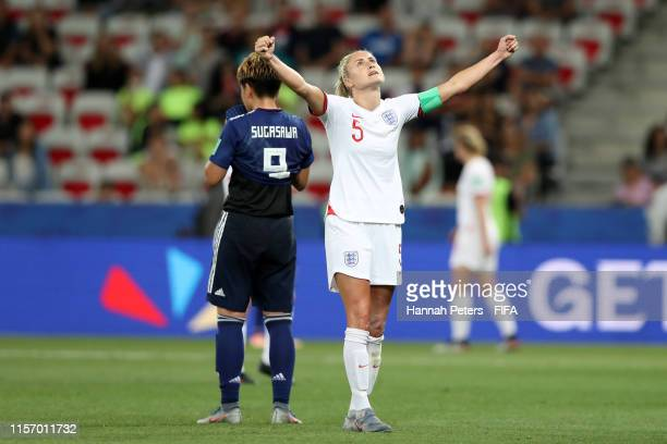 Steph Houghton of England celebrates victory after the 2019 FIFA Women's World Cup France group D match between Japan and England at Stade de Nice on...