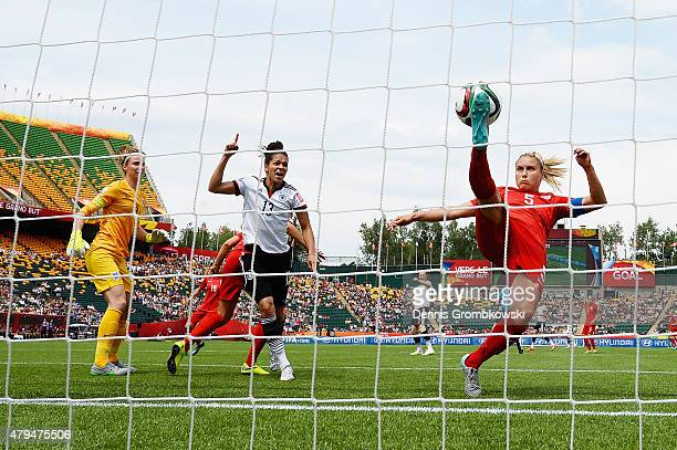 Steph Houghton of England clears the ball during the FIFA Women's World Cup Canada 2015 Third Place Playoff match between Germany and England at...