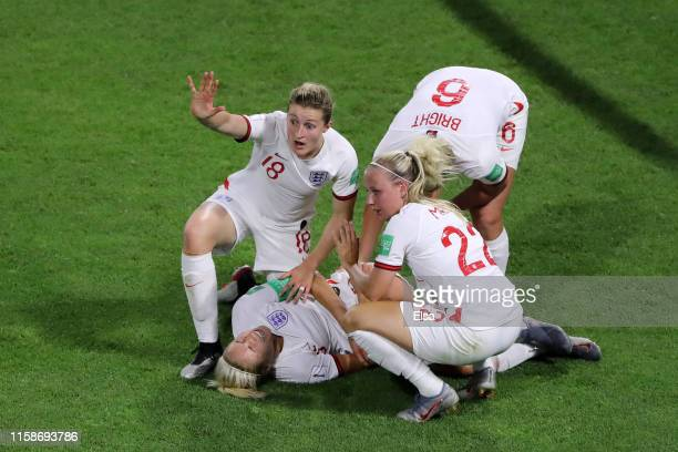 Steph Houghton of England goes down injured during the 2019 FIFA Women's World Cup France Quarter Final match between Norway and England at Stade...