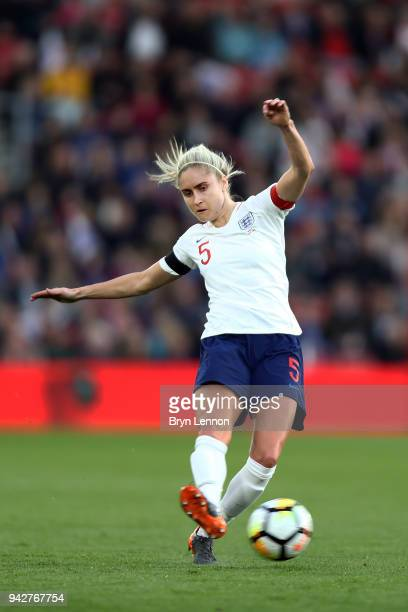 Steph Houghton of England in action during the Women's World Cup Qualifier match between England and Wales at St Mary's Stadium on April 6 2018 in...