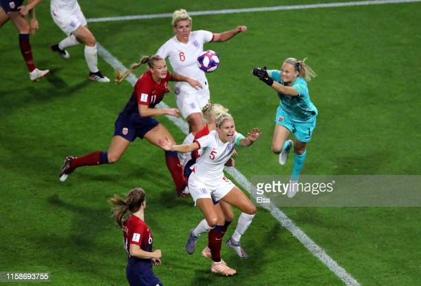 Steph Houghton of England is fouled by Maria Thorisdottir of Norway inside the penalty area leading to England being awarded a penalty during the...
