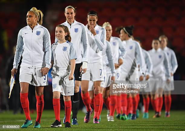 Steph Houghton of England leads the team out during the International Friendly between England and France at Keepmoat Stadium on October 21 2016 in...