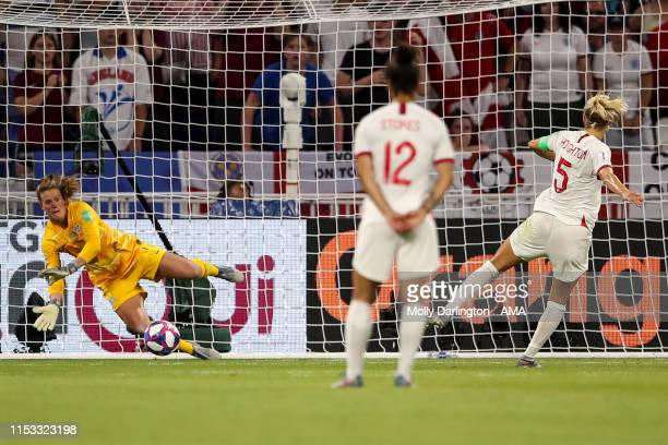 Steph Houghton of England misses a penalty awarded via VAR during the 2019 FIFA Women's World Cup France Semi Final match between England and United...