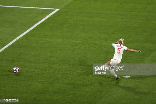 Steph Houghton of England misses a penalty during the 2019 FIFA Women's World Cup France Semi Final match between England and USA at Stade de Lyon on...