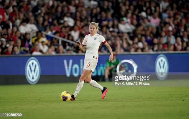 Steph Houghton of England moves with the ball during a game between England and USWNT at Exploria Stadium on March 05 2020 in Orlando Florida