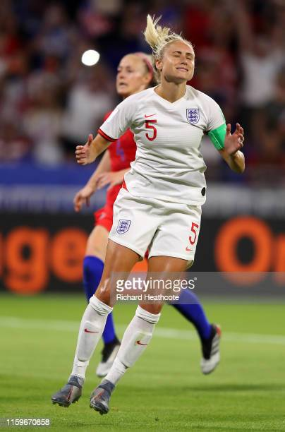 Steph Houghton of England reacts after missing a penalty during the 2019 FIFA Women's World Cup France Semi Final match between England and USA at...