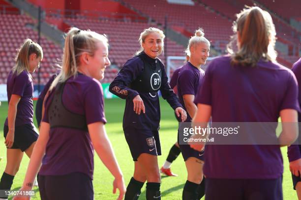 Steph Houghton of England reacts during a training session at St Mary's Stadium on September 16, 2021 in Southampton, England.