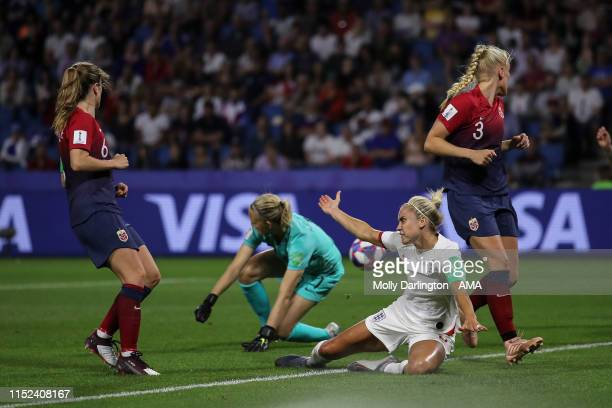 Steph Houghton of England receives a penalty during the 2019 FIFA Women's World Cup France Quarter Final match between Norway and England at Stade...