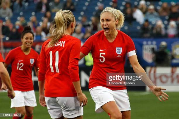 Steph Houghton of England responds after scoring a goal in the 2019 SheBelieves Cup match between USA and England at Nissan Stadium on March 2 2019...