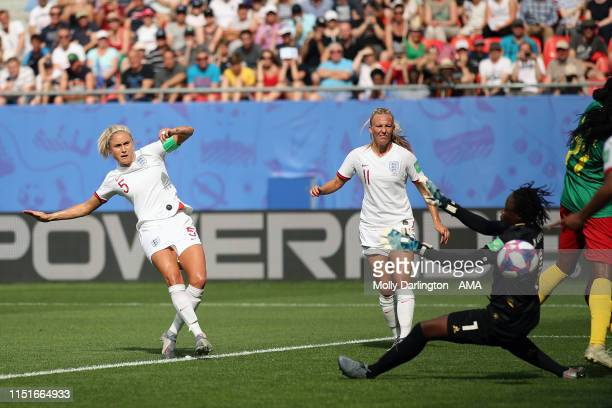 Steph Houghton of England scores a goal to make it 10 during the 2019 FIFA Women's World Cup France Round Of 16 match between England and Cameroon at...