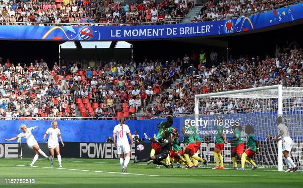Steph Houghton of England scores her team's first goal during the 2019 FIFA Women's World Cup France Round Of 16 match between England and Cameroon...