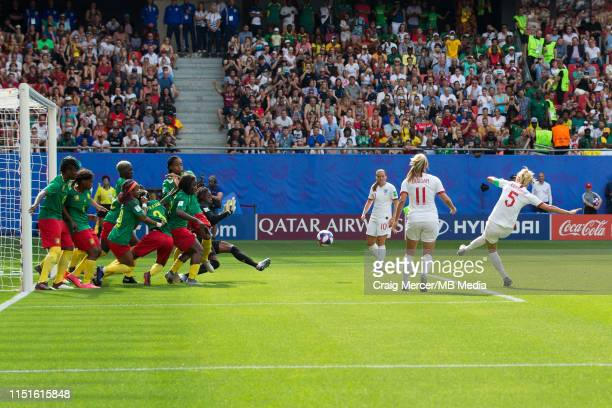 Steph Houghton of England scores the opening goal from a free-kick during the 2019 FIFA Women's World Cup France Round Of 16 match between England...