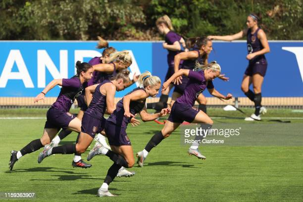 Steph Houghton of England trains during the England Training Session at Terrain d'Honneur on July 01 2019 in Lyon France