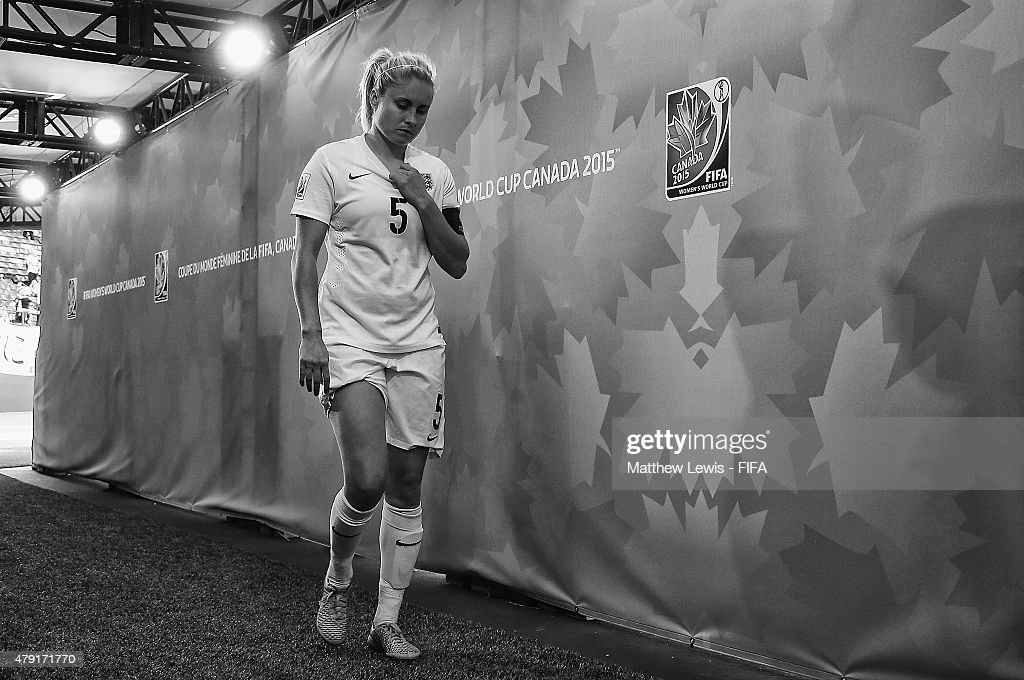 Steph Houghton of England walks down the tunnel, after her team lost to Japan during the FIFA Women's World Cup 2015 Semi Final match between Japan and England at Commonwealth Stadium on July 1, 2015 in Edmonton, Canada.
