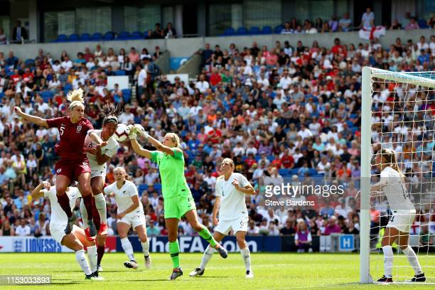 Steph Houghton of England Women and Erin Nayler of New Zealand Women battle for the ball during the International Friendly between England Women and...