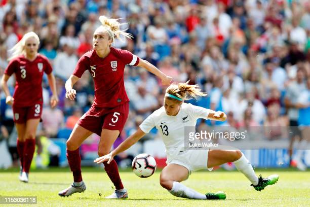 Steph Houghton of England Women and Rosie White of New Zealand Women battle for the ball during the International Friendly between England Women and...
