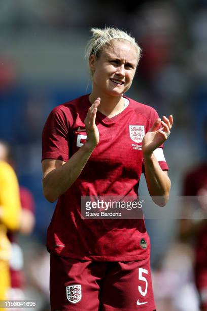 Steph Houghton of England Women applauds the crowd after the International Friendly between England Women and New Zealand Women at Amex Stadium on...